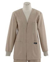 Scrub Med Womens Solid V-Neck Lab Jacket Khaki