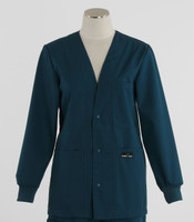 Scrub Med Womens Solid V-Neck Lab Jacket Spruce