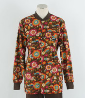 Scrub Med Womens Print Crew Neck Lab Jacket Flying Colors