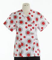 Scrub Med Womens Print V-Poc Scrub Top Ladybug Paradise
