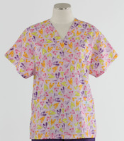 Scrub Med Womens Print V-Poc Scrub Top Light Hearted