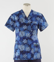 Scrub Med Womens Print V-Poc Scrub Top Winter Wonder
