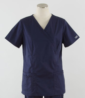 Cherokee Workwear Core Stretch Womens Mock Wrap Scrub Top Navy