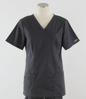 Cherokee Workwear Core Stretch Womens Mock Wrap Scrub Top Pewter