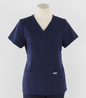 Greys Anatomy Womens Mock Wrap Scrub Top Indigo