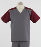 Carhartt Mens Scrub Top with Color Block Pewter/Wine