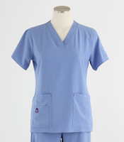 Carhartt Womens Cross-Flex V-Neck Scrub Top Ceil Blue
