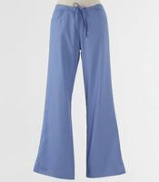 Maevn Womens Fit Drawstring w/ Back Elastic Flare Leg Scrub Pant Ceil Blue