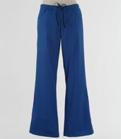 Maevn Womens Fit Drawstring w/ Back Elastic Flare Leg Scrub Pant Royal - Petite