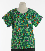 Scrub Med Womens Print Scrub Top Hop To It - Original Price: $31.00 - ALL SALES FINAL!