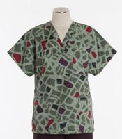 Scrub Med Womens Print V-Poc Scrub Top City Blocks - Original Price $33 - ALL SALES FINAL!