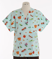 Scrub Med Womens Print V-Poc Scrub Top Creatures and Critters - Original Price $33 - ALL SALES FINAL!