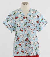 Scrub Med Womens Print V-Poc Scrub Top Frosted Flakes - Original Price $33 - ALL SALES FINAL!