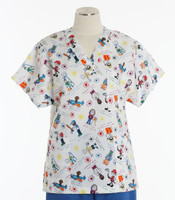 Scrub Med Womens Print V-Poc Scrub Top I Wanna Be - Original Price $33 - ALL SALES FINAL!