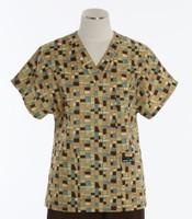 Scrub Med Womens Print V-Poc Scrub Top Mosaic - Original Price $33 - ALL SALES FINAL!