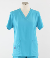 Carhartt Womens Cross-Flex V-Neck Scrub Top Cyan