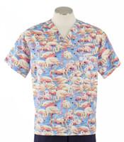 Scrub Med Mens Print V-Neck Scrub Top Flamingos