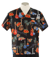 Scrub Med Mens Print V-Neck Scrub Top Surf Rock