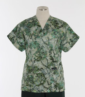 Scrub Med Womens Print V-Poc Scrub Top Emerald Isle - Original Price $33 - ALL SALES FINAL!