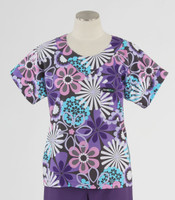 Scrub Med Womens Print Scrub Top Flower Shower - Original Price: $31.00 - ALL SALES FINAL!