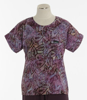 Scrub Med Womens Print Scrub Top Amethyst - Original Price: $31.00 - ALL SALES FINAL!