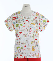Scrub Med Womens Print Scrub Top Funny Valentine - Original Price: $31.00 - ALL SALES FINAL!
