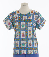 Scrub Med Womens Print Scrub Top Miss Bunny - Original Price: $31.00 - ALL SALES FINAL!