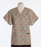 Scrub Med Womens Print V-Poc Scrub Top Bombay - Original Price $33 - ALL SALES FINAL!