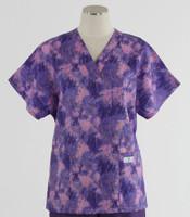 Scrub Med Womens Print V-Poc Scrub Top Mardi Gras - Original Price $33 - ALL SALES FINAL!