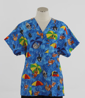 Scrub Med Womens Print V-Poc Scrub Top Raining Cats and Dogs - Original Price $33 - ALL SALES FINAL!