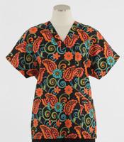 Scrub Med Womens Print V-Poc Scrub Top Paisley Park - Original Price $33 - ALL SALES FINAL!