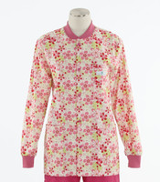 Scrub Med Womens Print Crew Neck Lab Jacket Daisy Chain - Original Price $43 - ALL SALES FINAL!