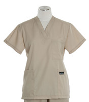 Scrub Med Womens Solid V-Poc Scrub Top Putty (ScrubLite) - Original Price $30 - ALL SALES FINAL!