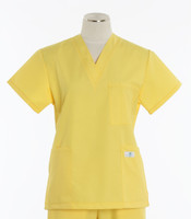 Scrub Med Womens Solid V-Poc Scrub Top Lemonade - Original Price $30 - ALL SALES FINAL!