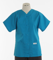 Scrub Med Womens Solid Baseball Scrub Top Turquoise - Original Price $32 - ALL SALES FINAL!