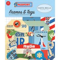 Passport - Frames & Tags  Die Cut Cardstock Pieces - Carta Bella