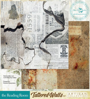 Blue Fern Studios - Tattered Walls 12x12 dbl sided paper - The Reading Room