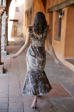 """""ANASTACIA DRESS-GOLD VELVET EMBROIDERY """""