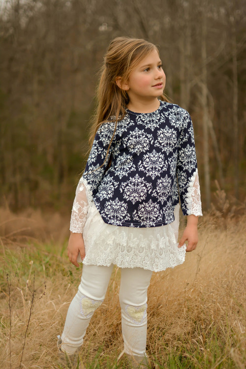 Amelia Lace Trimmed Tunic- Navy Damask