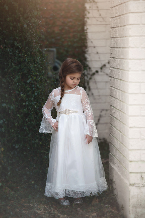 EMMA GOWN & BELT SET WHITE
