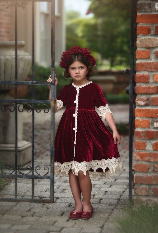 """ROSALINA DRESS BURGUNDY VELVET''"