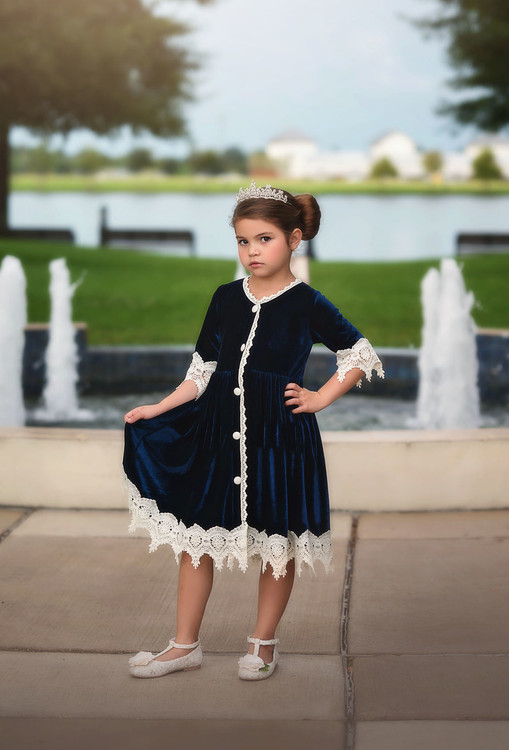 """ROSALINA DRESS NAVY VELVET"""