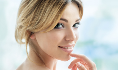 Woman looking over her shoulder smiling