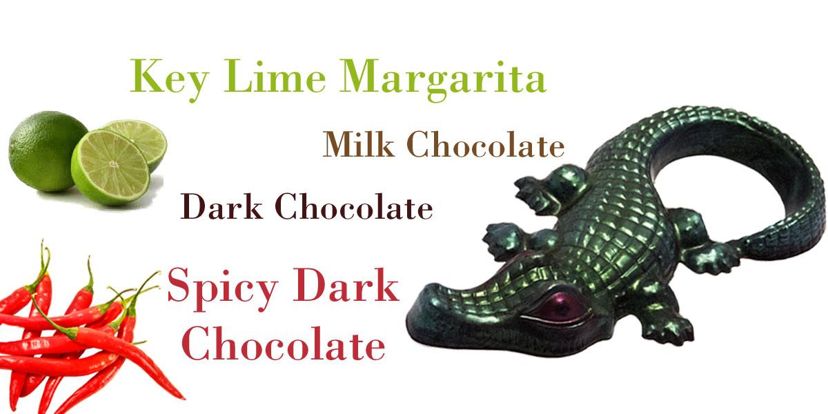 chocolate alligators, keylime chocolates, spicy chocolates
