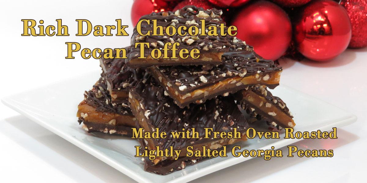 Dark chocolate pecan toffee