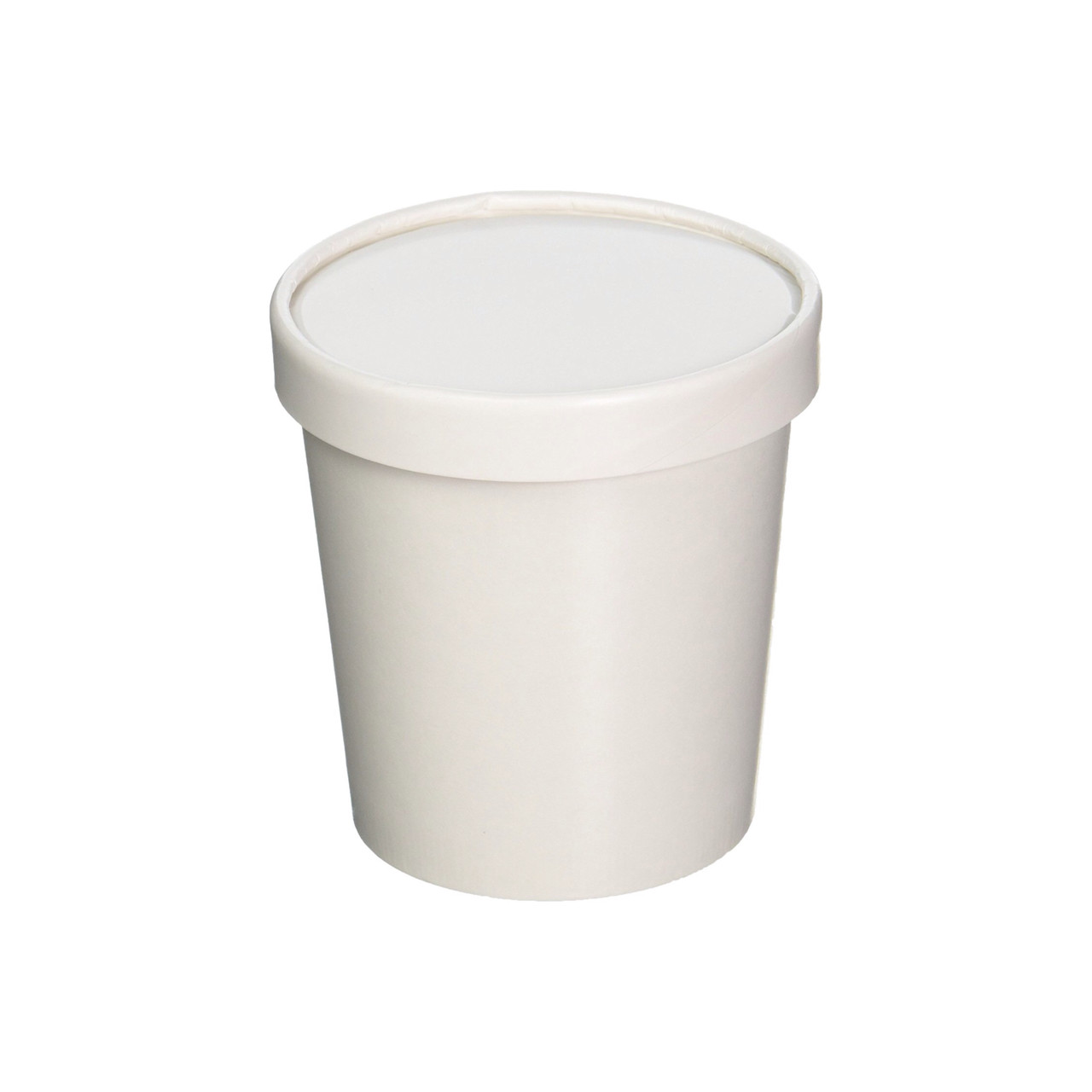 16oz White Paper Ice Cream Pint Container w Lid 250ct CLEARANCE