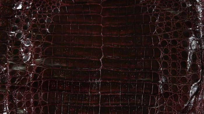Caiman Belly Skin - Glazed - Wine (38cm)