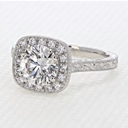 evertrue Engraved Halo Engagement Ring