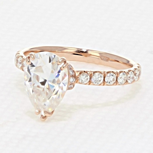 Rose Gold Micro Prong Engagement Ring with 10 x 7mm Moissanite (CR198R-M)