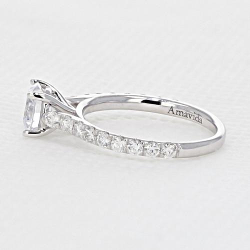 Micro Prong Engagement Ring with 6.5mm Moissanite (AV33-M)